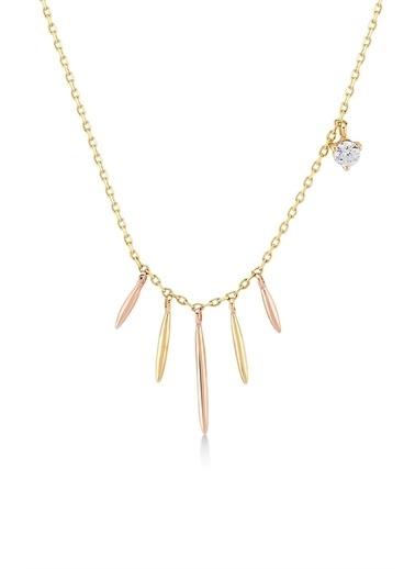 Piano Jewellery Taş Detaylı Damla Altın Kolye 14 Ayar Altın